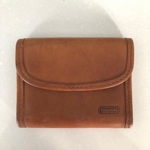 Coach brown small wallet with key ring